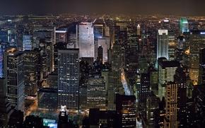 Картинка небоскребы, ночь, Нью-Йорк