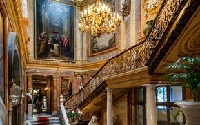 Картинка картина, лестница, люстра, Испания, колонна, Мадрид, музей Серральбо