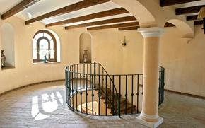 Обои дизайн, стиль, комната, интерьер, лестница, ступеньки, квартира, коричневый