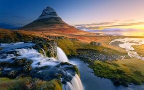Картинка водопады, Исландия, гора Kirkjufell
