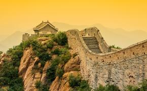 Обои лес, горы, туман, камни, скалы, утро, Китай, кусты, Великая Китайская стена, Great Wall of China
