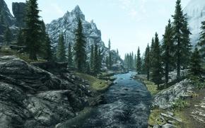 Картинка деревья, пейзаж, горы, река, The Elder Scrolls V Skyrim