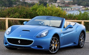 Картинка Красивая, Ferrari California, Blue, Калифорния, Beautiful, Cabrio, Обоя, Феррари, Автомобиль, Кабриолет, Automobile, Car, 2009-12, Машина, ...