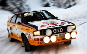 Картинка Audi, Ауди, Снег, Скорость, Light, Car, Автомобиль, Speed, Snow, Quattro, Wallpapers, Rally, Ралли, Group B, ...