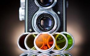 Картинка ретро, цветные, фотоаппарат, разные, линзы, стекла, фотокамера