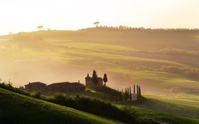 Обои италия, тоскана, туман, рассвет