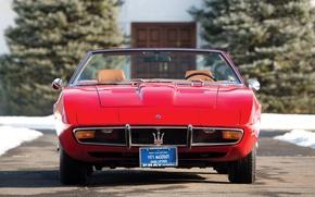 Картинка Maserati, 1969, red, ghibli, front, spyder