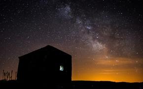 Картинка звезды, ночь, пространство, дом, млечный путь
