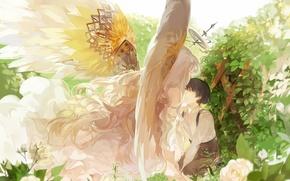 Картинка листья, девушка, цветы, розы, крылья, ангел, аниме, арт, парень, кусты, нимб, nineo