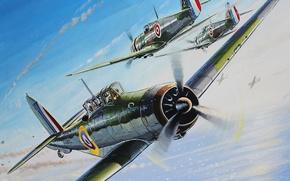 Картинка авиация, война, рисунок, арт, истребители, самолёты