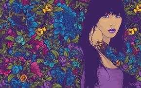стиль, арт креатив, вектор, узоры, девушка, цвета обои