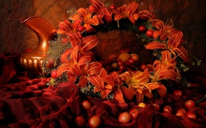 Картинка ягоды, лилии, кувшин, натюрморт, венок, черешня