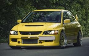 Картинка Mitsubishi, Lancer, Evolution, Yellow