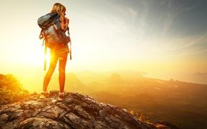 Картинка солнце, горы, рюкзак, двушка
