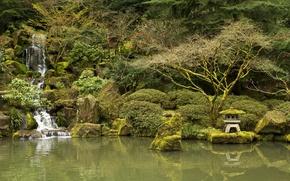 Обои деревья, пруд, камни, водопад, мох, сад, США, кусты, Oregon, Portland, Japanese Gardens