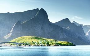 Картинка Природа, Горы, Мост, Озеро, Норвегия, Lofoten Islands