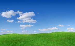Картинка небо, трава, облака, природа, фото, холмы, пейзажи, склоны, бугры