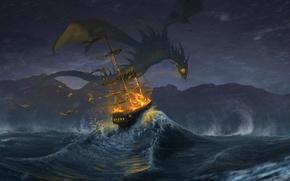 Картинка пожар, атака, дракон