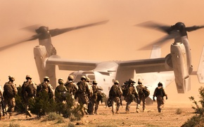 Картинка пустыня, солдаты, конвертоплан, Osprey, морская пехота, Bell V-22