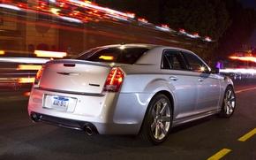 Картинка Вечер, Дорога, Город, Chrysler, Машина, Серый, Крайслер, Машины, City, SRT8, Car, Автомобиль, Cars, 300, Автомобили, …