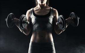 Картинка woman, exercise, fitness, torso, dumbbells