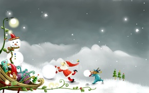Картинка снеговик, вектор, рисунок, Праздник, новый год, рождество