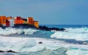 Картинка waves, sea, ocean, rocks, village, troubled sea, storm is coming