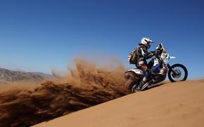 Картинка песок, пустыня, мотоцикл, ралли, дакар