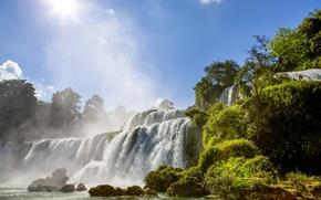 Картинка зелень, деревья, река, водопад
