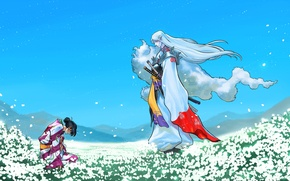 Картинка поле, рисунок, аниме, луг, арт, самурай, кимоно, field, anime, art, blue sky, samurai, фанарт, fanart, …