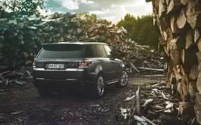Картинка Land Rover, Range Rover, Car, Nature, Wood, 4x4, Sport, Diesel, Luxury, Forrest, English, Rear
