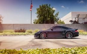 Картинка черный, 997, Porsche, профиль, turbo, порше, black