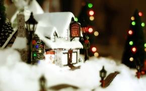 Обои рождество, новый год, домик, зима