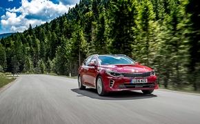 Картинка дорога, лес, красный, скорость, forest, KIA, road, киа, Optima, GT Line, Sportswagon