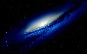 Картинка космос, синий, чёрный, звёзды, галактика