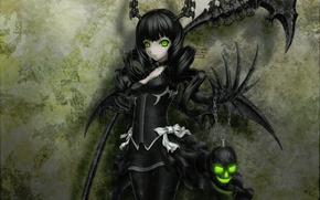 Картинка череп, black, черные волосы, black rock shooter, зелёные глаза