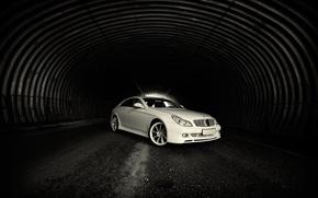 Обои Тоннель, Белый, Mercedes, Свет, Дорога