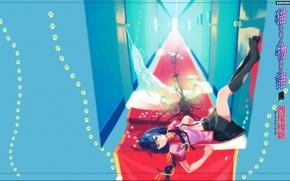 Картинка следы, двери, коридор, люстра, иероглифы, лежит, школьница, гольфы, красная, белое платье, косы, Bakemonogatari, Hanekawa Tsubasa, …