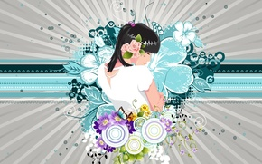 Картинка девушка, цветы, Вектор