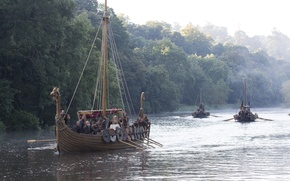 Картинка корабли, сериал, Vikings, Викинги, драккары