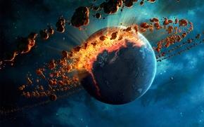 Картинка космос, фантастика, планета, арт, разрушение, метеоритный пояс