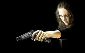 Картинка девушка, оружие, Анджелина Джоли, Angelina Jolie, Wanted, особо опасен