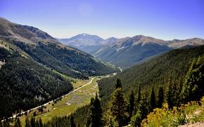 Картинка дорога, лес, горы, река