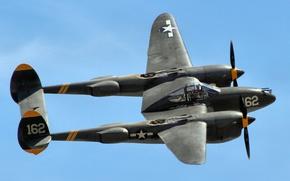 Картинка полет, истребитель, Lightning, P-38