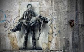 Картинка стена, рисунок, арт, фреска, бетон