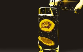 Обои Вектор, стакан, лимон
