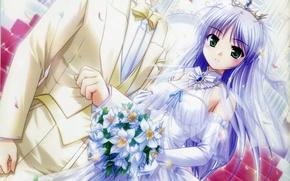 Картинка букет, корона, лепестки, ступени, перчатки, невеста, белое платье, фата, свадьба, жених, visual novel, yoake mae …