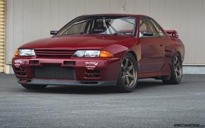 Картинка nissan, turbo, red, wheels, skyline, japan, jdm, tuning, gtr, front, face, racing, r32, nismo, datsun, ...