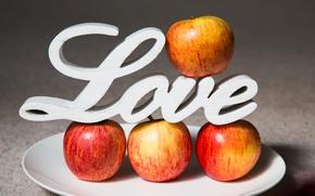 Картинка яблоки, тарелка, love, фрукты