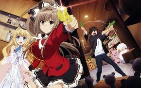 Картинка kawaii, wallpaper, red, girl, gun, pistol, game, bear, weapon, hat, neko, anime, cat, beautiful, pretty, …